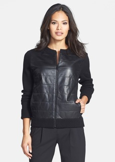 Lafayette 148 New York Cashmere & Lambskin Leather Sweater Jacket