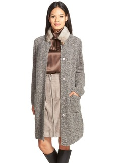 Lafayette 148 New York Cashmere & Silk Cardigan Coat with Genuine Mink Fur Collar