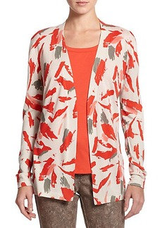 Lafayette 148 New York Cashmere & Silk Open-Front Cardigan