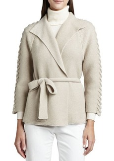 Lafayette 148 New York Cashmere Belted Long-Sleeve Cardigan