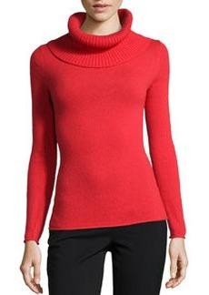 Lafayette 148 New York Cashmere-Blend Excelsior Cowl-Neck Sweater, Vermilion