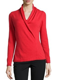 Lafayette 148 New York Cashmere-Blend Excelsior Side-Tacked Sweater, Vermilion