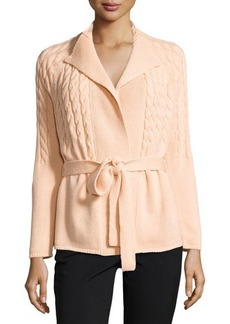 Lafayette 148 New York Cashmere Cable-Knit Belted Cardigan