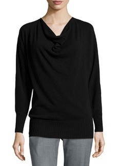 Lafayette 148 New York Cashmere Cowl-Neck Sweater, Black