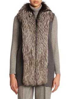 Lafayette 148 New York Cashmere Fur-Collar Vest