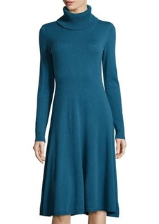 Lafayette 148 New York Cashmere Long-Sleeve Turtleneck A-Line Dress