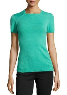 Lafayette 148 New York Cashmere Short-Sleeve Sweater, Garden