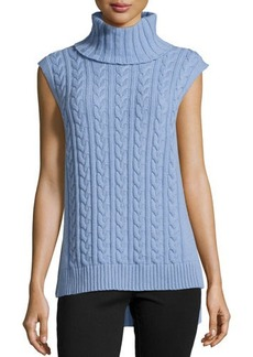 Lafayette 148 New York Cashmere Sleeveless Cable-Knit Turtleneck Tunic
