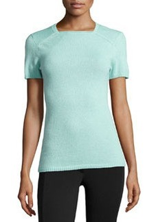 Lafayette 148 New York Cashmere Square-Neck Sweater, Tranquil Blue