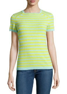 Lafayette 148 New York Cashmere Stripe Square-Neck Sweater, Tranquil Blue