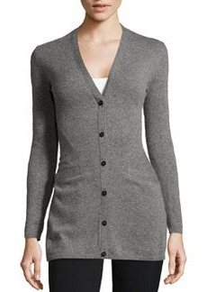 Lafayette 148 New York Cashmere V-Neck Seam-Detailed Cardigan, Nickel Melange