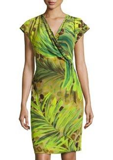 Lafayette 148 New York Cassandra Printed Cap-Sleeve Dress, Bamboo/Multi