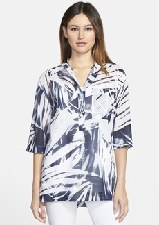 Lafayette 148 New York 'Cecilia' Print Cotton Stand Collar Blouse