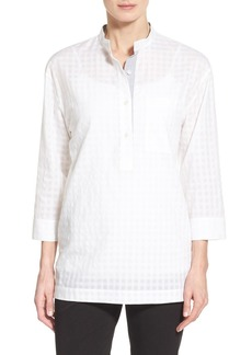 Lafayette 148 New York 'Cecilia' Sheer Check Stand Collar Blouse