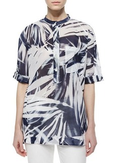 Lafayette 148 New York Cecilia Short-Sleeve Printed Blouse