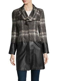 Lafayette 148 New York Cecille Plaid & Faux-Leather Overcoat, Espresso