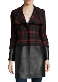 Lafayette 148 New York Cecille Shimmer Tweed & Leather Coat, Black/Red