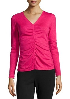 Lafayette 148 New York Center Ruched Long-Sleeve Top