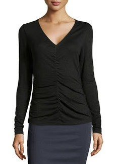 Lafayette 148 New York Center Ruched Long-Sleeve Top, Black