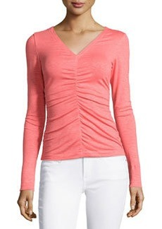 Lafayette 148 New York Center Ruched Long-Sleeve Top, Dragon Fruit