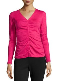 Lafayette 148 New York Center Ruched Long-Sleeve Top, Petunia
