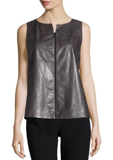 Lafayette 148 New York Chandry Zip-Front Leather Blouse