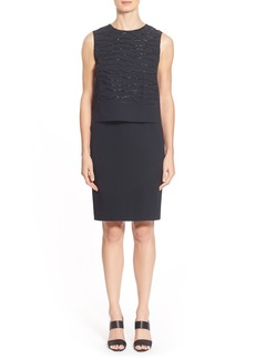 Lafayette 148 New York 'Chantel' Embellished Silk Popover Sheath Dress