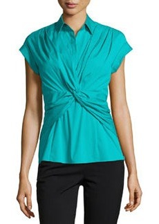 Lafayette 148 New York Charelle Twist-Front Short-Sleeve Blouse, Splash