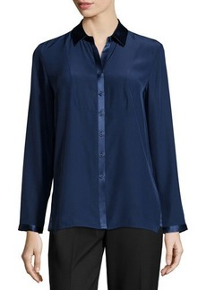 Lafayette 148 New York Charmeuse-Trim Button-Front Blouse