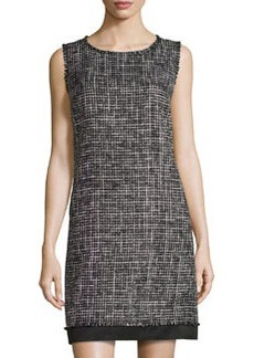 Lafayette 148 New York Check-Design Knit Sleeveless Dress, Black Multi