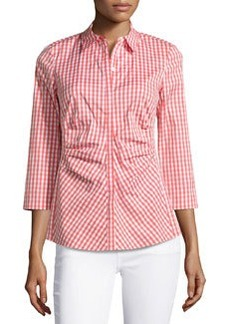 Lafayette 148 New York Check-Pattern Pleated Blouse, Grapefruit