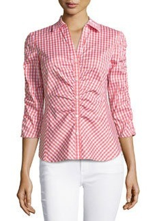 Lafayette 148 New York Check-Pattern Ruched Blouse, Grapefruit