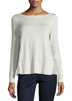 Lafayette 148 New York Chiffon-Inset Long-Sleeve Sweater