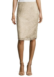 Lafayette 148 New York Circle-Pattern Slim Skirt, Khaki
