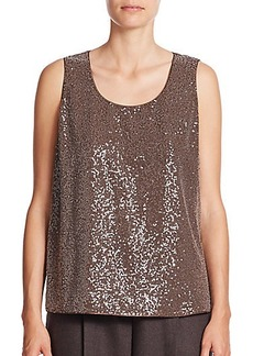 Lafayette 148 New York Cleo Sequined-Front Silk Georgette Tank