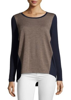 Lafayette 148 New York Colorblock High-Low Long-Sleeve Tee