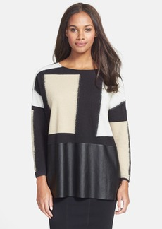 Lafayette 148 New York Colorblock Mixed Media Top