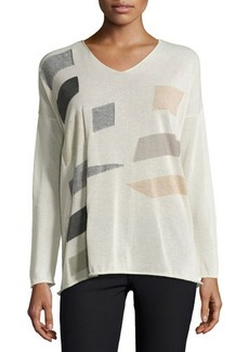 Lafayette 148 New York Colorblock V-Neck Sweater