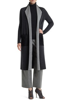 Lafayette 148 New York Colorblock Wool Flannel Duster