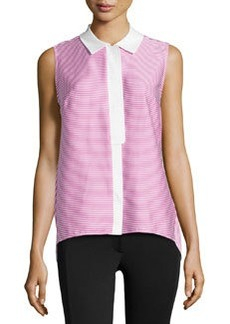 Lafayette 148 New York Contrast-Collar Sleeveless Blouse, Dahlia Multi
