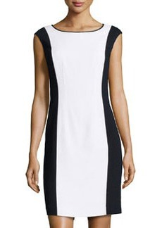 Lafayette 148 New York Contrast Combo Cap-Sleeve Dress, Black/Multi