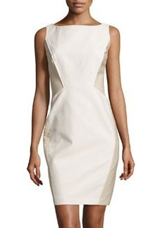 Lafayette 148 New York Contrast-Panel Sleeveless Dress, Oyster/Papyrus