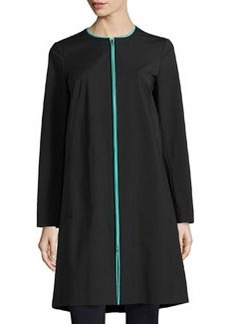 Lafayette 148 New York Contrast-Piping Front-Zip Jacket, Black/Gard