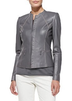 Lafayette 148 New York Contrast-Stitch Leather Jacket