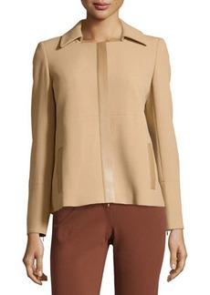 Lafayette 148 New York Contrast-Trim Boxy Wool Jacket