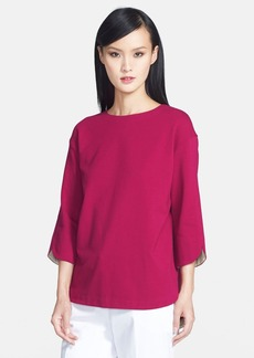 Lafayette 148 New York Contrast Trim Curved Hem Jersey Top