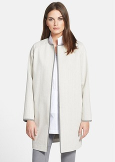 Lafayette 148 New York Contrast Trim Denim Coat