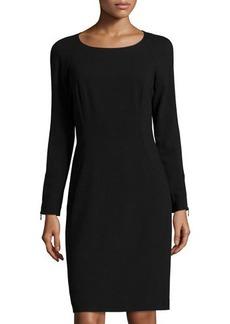 Lafayette 148 New York Contrast-Trim Long-Sleeve Shift Dress