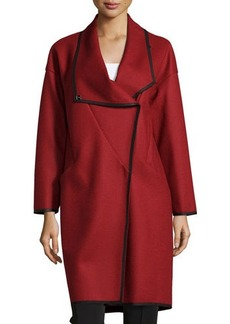 Lafayette 148 New York Contrast-Trim Shawl-Collar Coat