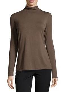 Lafayette 148 New York Contrast-Trim Turtleneck, Granite